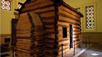 A replica of Lincoln birth cabin