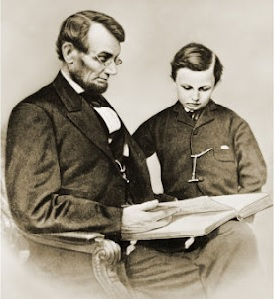 Lincoln and son reading