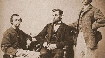 President Lincoln with John Nicolay and John Hay